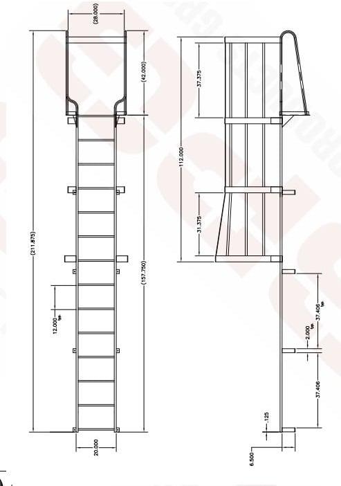 Walk Thru Ladder : Heavy duty fixed steel ladders walk thru style roof