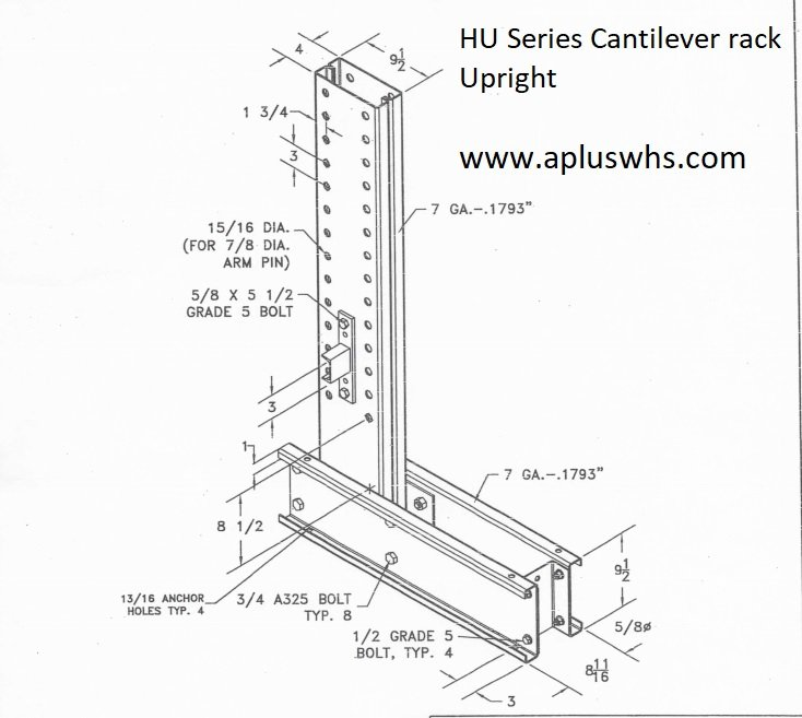HU Series Cantilever Rack Upright