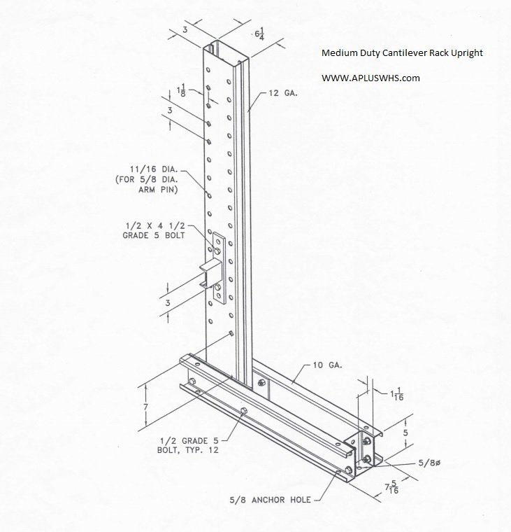 Medium Duty Cantilever Upright Drawing