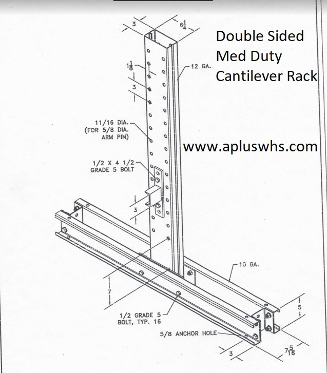 Medium Duty Double Sided Cantilever Rack Upright