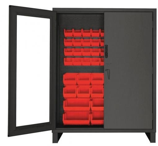 giant restricted access cabinet with red bins