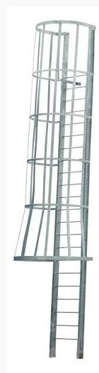 aluminum access ladder with cage walk through style
