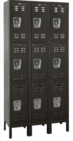 black triple tier locker