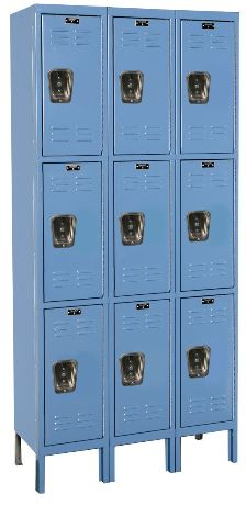 blue triple tier locker