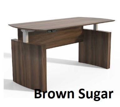 brown sugar curved desk adjustable
