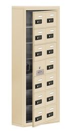 cellphone locker with access panel 2 col wide tan
