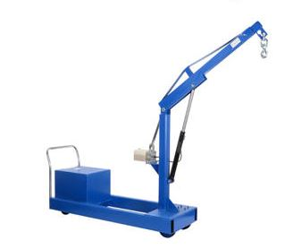 counter balanced floor crane in raised position