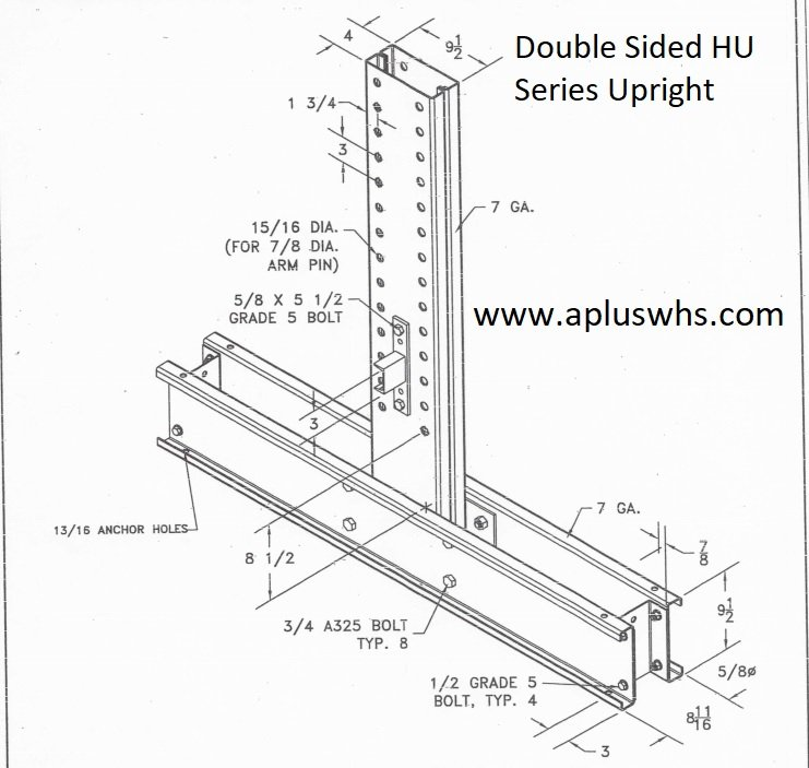 double sided hu series cantilever rack upright