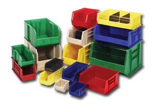 economy stacking bins in variety of colors