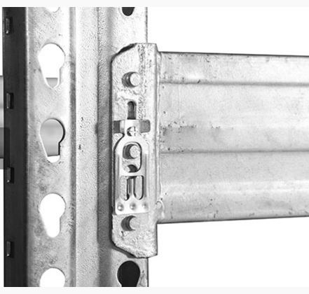 galvanized pallet rack beam close up