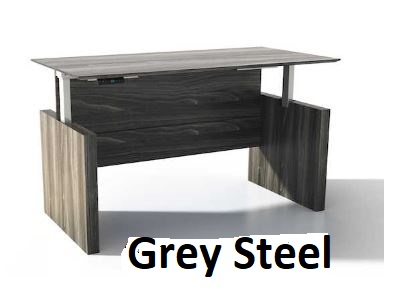 grey steel adjustable desk