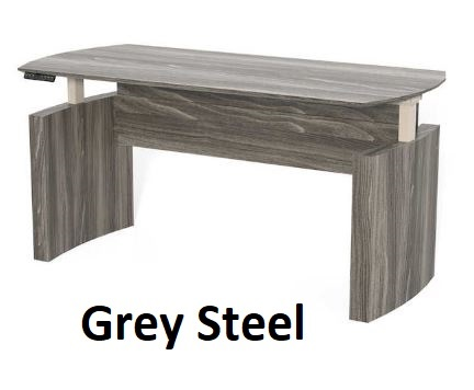 grey steel curved desk adjustable