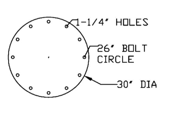heavy duty foundationless jib bolt circle
