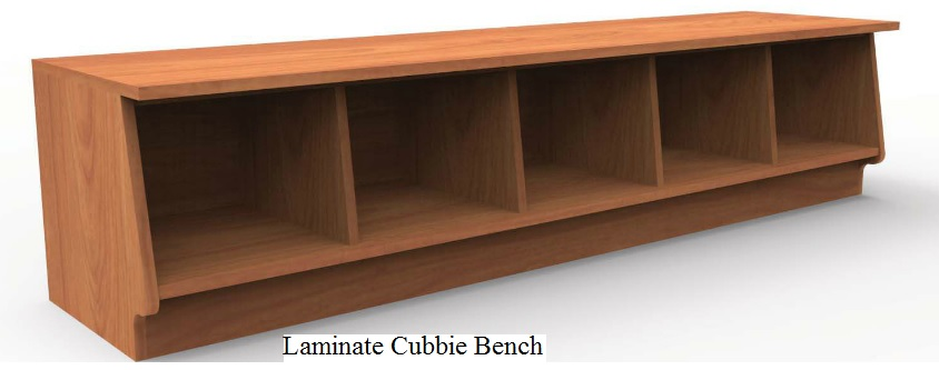 laminate cubbie bench