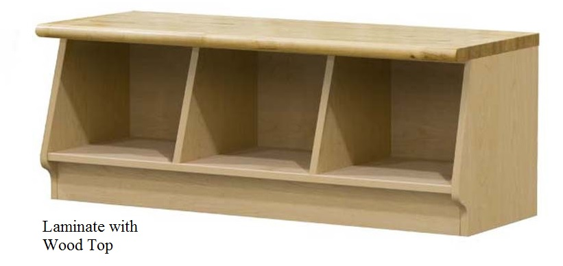 laminate cubbie locker bench with wood top