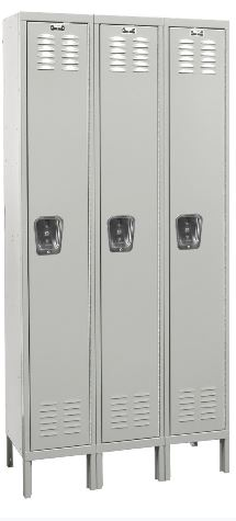 light gray three wide locker
