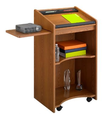 mahogany colored mobile executive lectern
