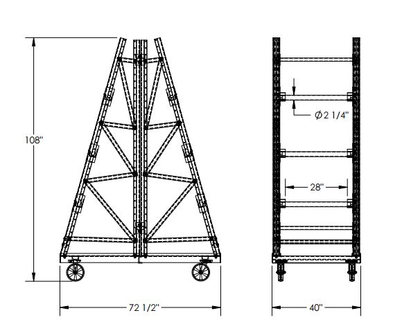 reel racks are mobile  double sided mobile cable reel racks