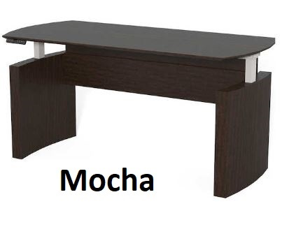 mocha curved desk adjustable