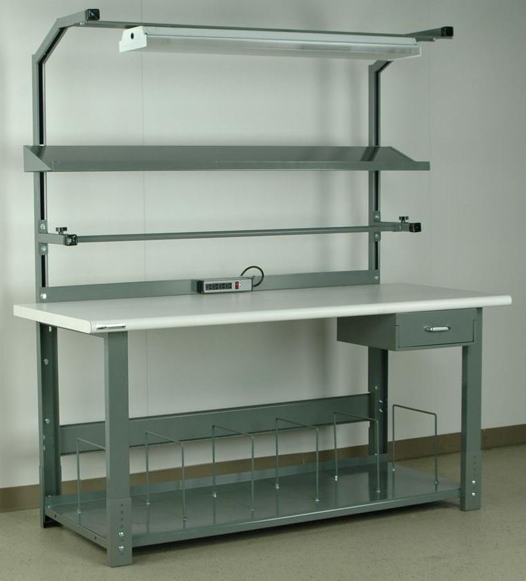 preconfigured packing bench with bullnose laminated top