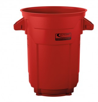 red trashcan