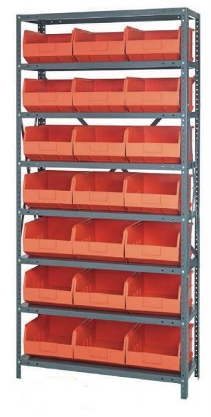 shelving with stackable shelf bins