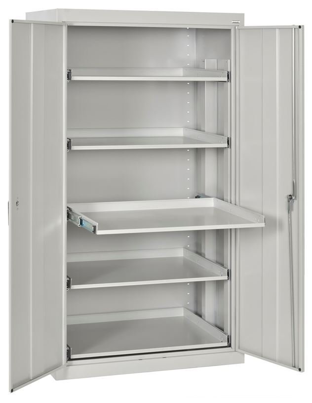 slide out shelf storage cabinet dove gray