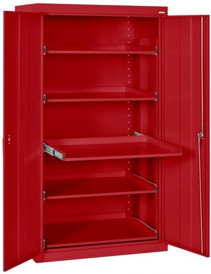 slide out shelf storage cabinet red