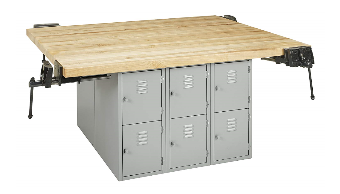 steel workbench with vises