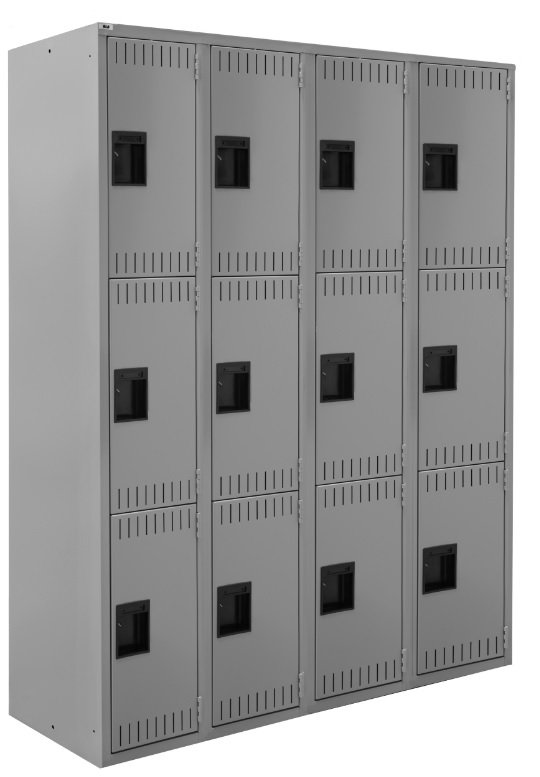 triple tier four wide lockers
