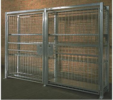 two galvanized wire security cabinets together