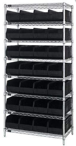 wire shelving with black stackable bins