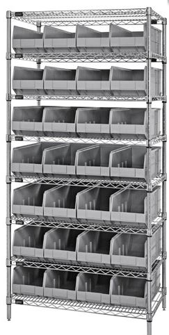 wire shelving with gray stackable bins