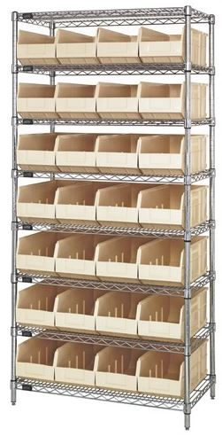 wire shelving with ivory stackable bins