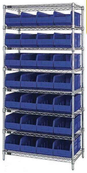 wire shelving with stackable shelf bins