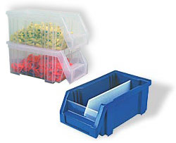 Economy Clear And Colored Stacking Bins