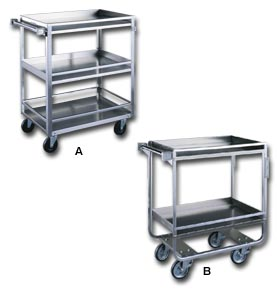 Stainless Steel Shelf Trucks With Guard Rails