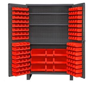 14 ga bin cabinet with 137 red bins