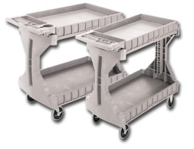 Akro Plastic Shelf Truck With Two Shelves