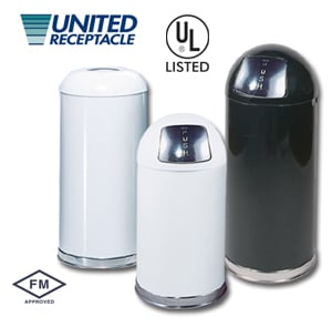 United Receptacle Garbage Can Round Tops