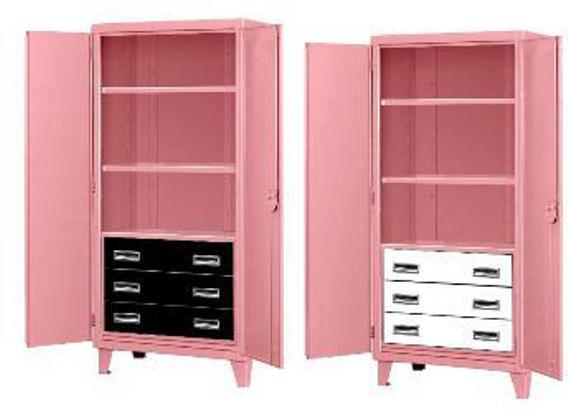 Three Drawer Pink Elephant Storage Cabinet & Three Drawer Heavy Duty Metal Storage Cabinet