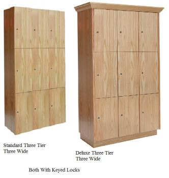 Triple Tier Assembled Wood Club Lockers