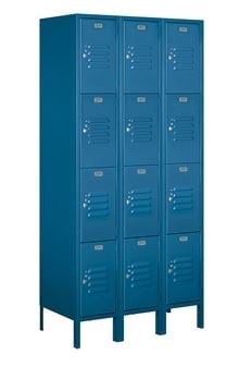 4 tier 3 wide locker blue
