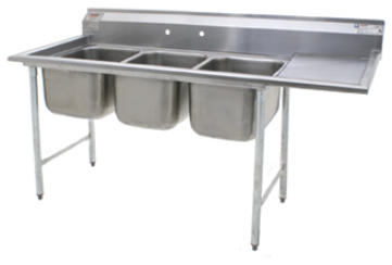 Three Compartment Stainless Steel Sinks With Drain Board