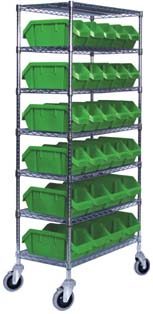 Wire Shelf Trucks With Dual Access Bins