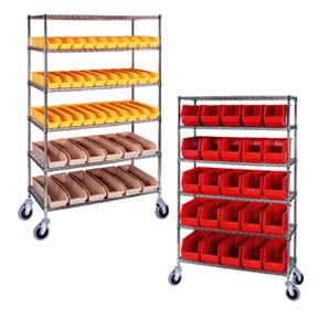 Wire Shelf Truck With Plastic  Bins