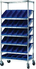 Slanted Wire Shelf Trucks With Shelf Bins