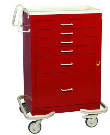 6 drawer steel crash cart
