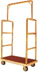 Garment and Luggage Cart With Titanium Gold Plated Tubing And Rectangular Frame
