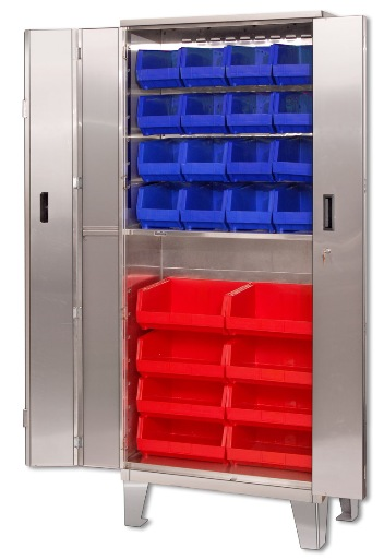 Economy Stainless Steel Storage Cabinets With Plastic Bins And Legs